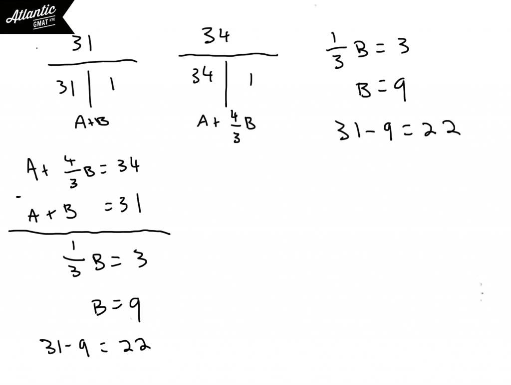 GMAT Question of the Day Problem Solving Work/Rate Solution 2 Diagram