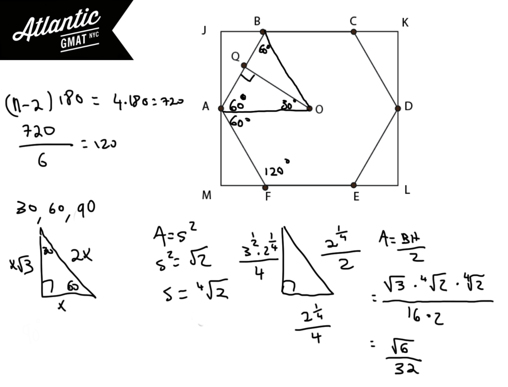 GMAT Sample Question Geometry Solution Diagram