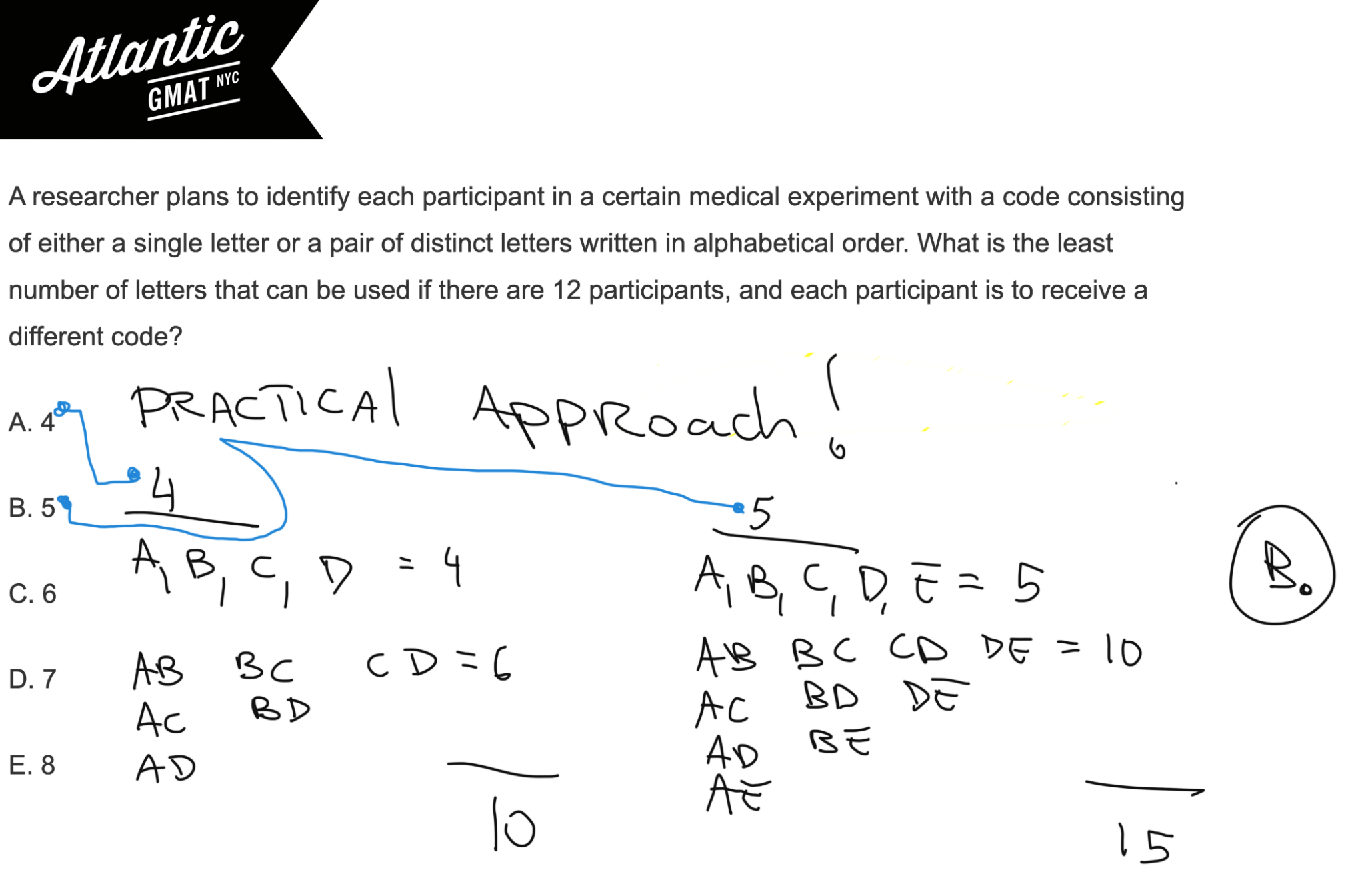 A researcher plans to identify each participant in a certain medical experiment GMAT Explanation 2 Diagram