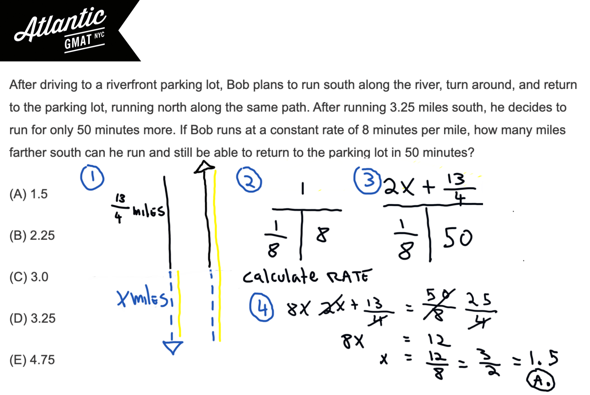 After driving to a riverfront parking lot, Bob plans to run south along the river GMAT Explanation Complete Daigram