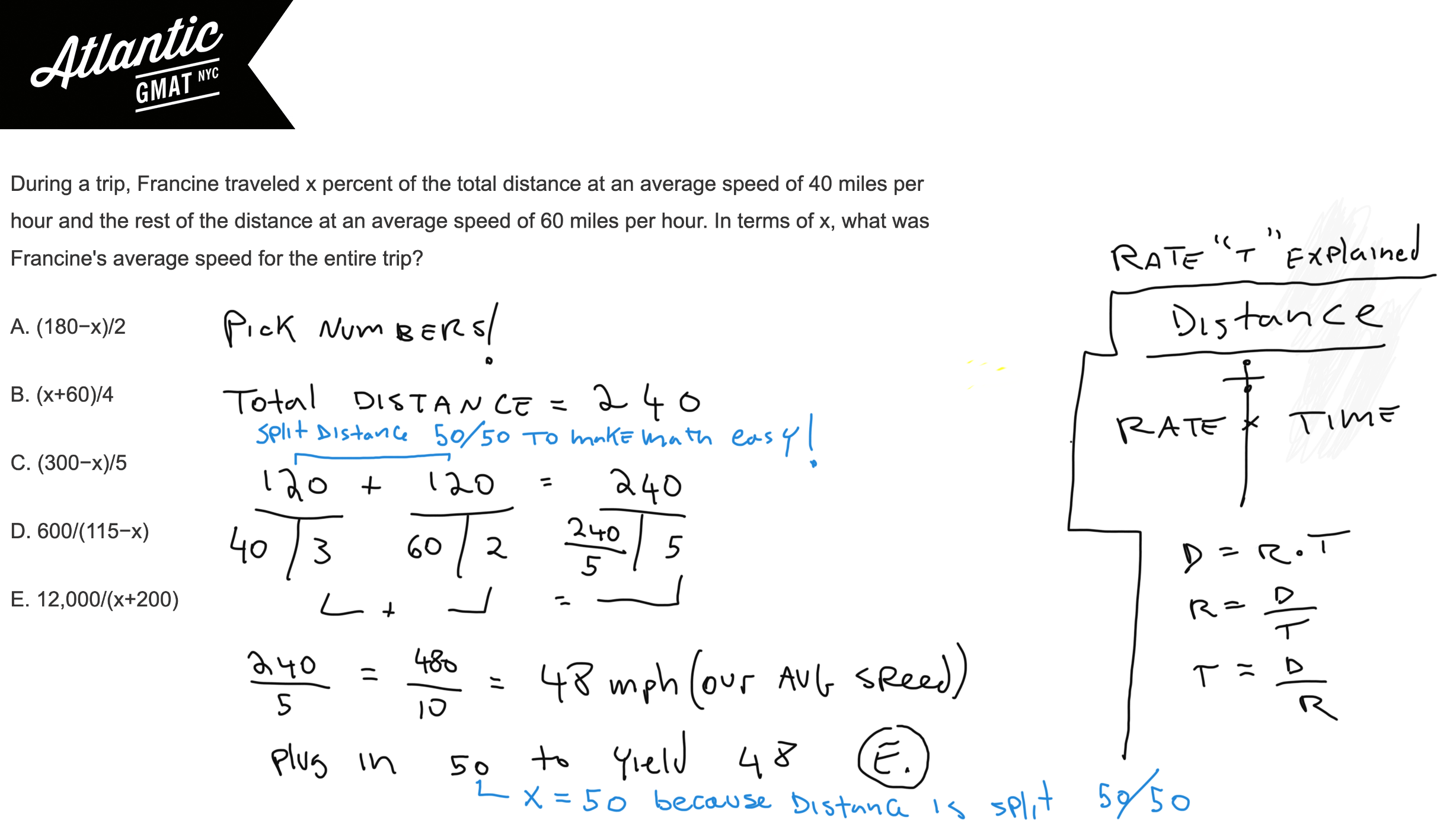 During a trip, Francine traveled x percent of the total distance at an average speed of 40 miles per hour GMAT Explanation Diagram