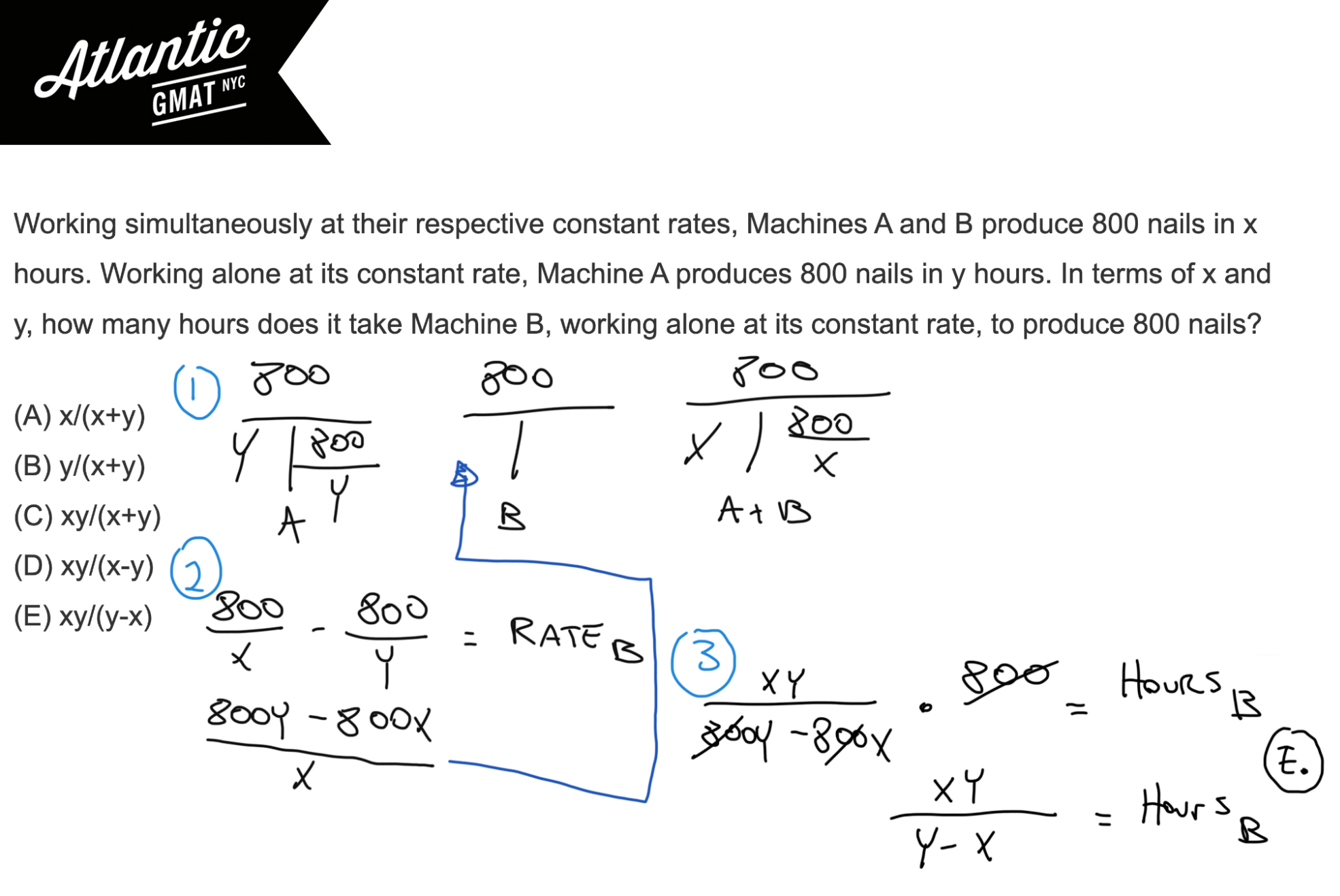 Working simultaneously at their respective constant rates, Machines A and B produce 800 nails GMAT Explanation Diagram